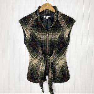 CAbi All Tied Up Wool Blend Classic Plaid Vest